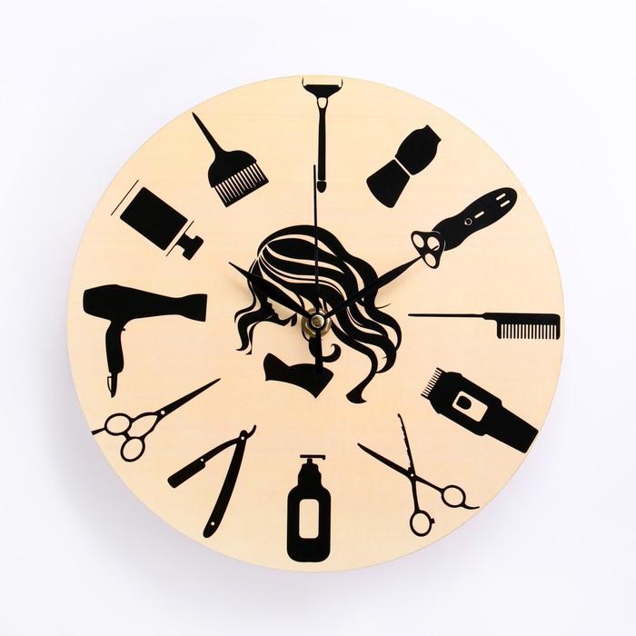 Часы настенные Для парикмахерской, d-23.5. плавный ход, микс