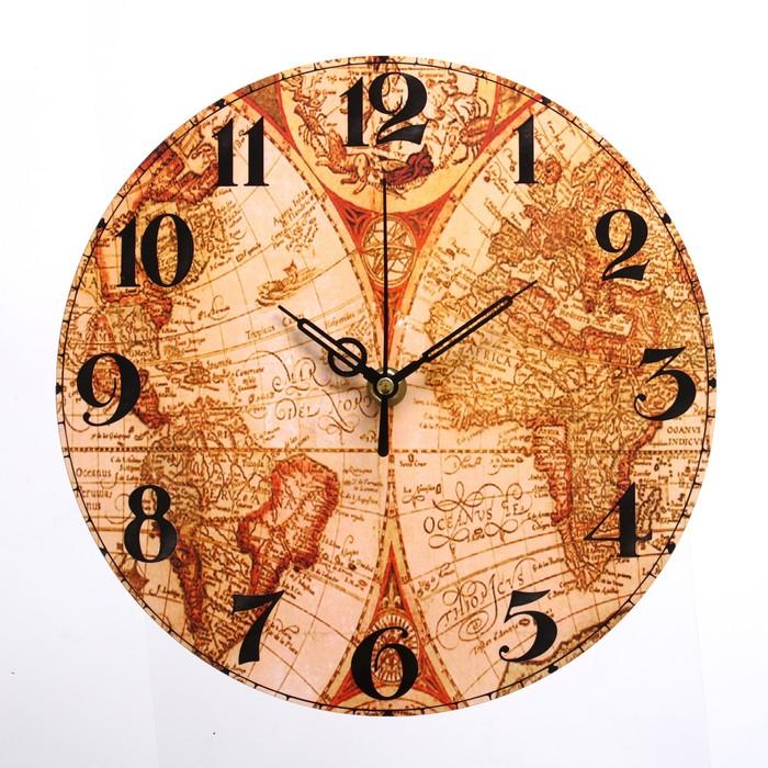 Часы настенные География, d-23.5. плавный ход