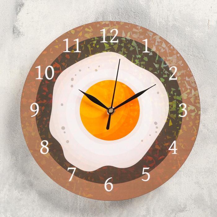 Часы настенные Яичница, d- 23.5. плавный ход