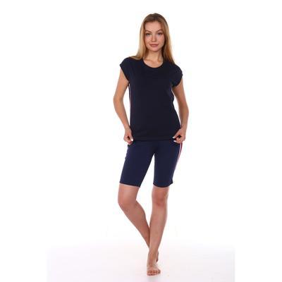 Костюм женский (футболка, шорты), цвет тёмно-синий, размер 42