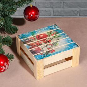 """Подарочная коробка реечная """"Ёлочная ветвь"""", 20х20х9 см, с крышкой, печать"""
