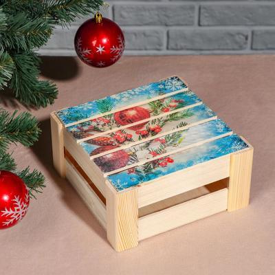 """Подарочная коробка реечная """"Ёлочная ветвь"""", 20х20х9 см, с крышкой, печать - Фото 1"""