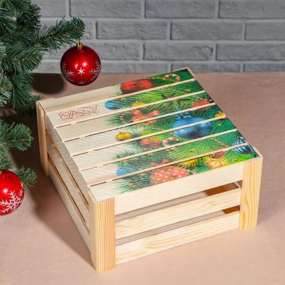 """Подарочная коробка реечная """"С Новым годом, ёлочка"""", 30х30х15 см, с крышкой, печать - Фото 1"""