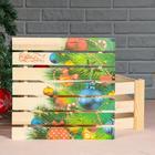 """Подарочная коробка реечная """"С Новым годом, ёлочка"""", 30х30х15 см, с крышкой, печать - Фото 3"""