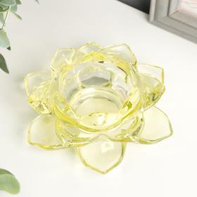 "Подсвечник стекло на 1 свечу ""Лотос"" жёлтый 5,5х12х12 см"