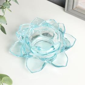 """Подсвечник стекло на 1 свечу """"Лотос"""" голубой 5,5х12х12 см"""