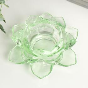 "Подсвечник стекло на 1 свечу ""Лотос"" зелёный 5,5х12х12 см"