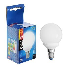 """Лампа энергосберегающая Uniel """"шар"""" G55, Е14, 11 Вт, 4000 К"""