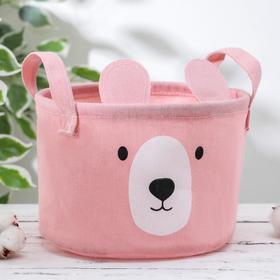 Корзина для хранения с ручками «Мишка», 20×20×15 см, цвет розовый