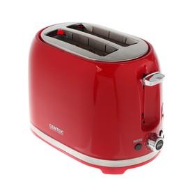 Тостер Centek СТ-1432 RED, 850 Вт, 7 режимов прожарки, 2 тоста, красный Ош