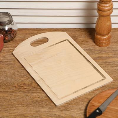 """Доска разделочная деревянная """"Прямоугольная №2"""", ручка вырез, 29×19×0,6 см"""