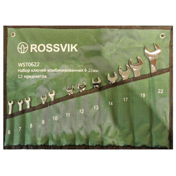 Набор ключей комбинированных ROSSVIK ЕК000013061, 6-22 мм, 12 штук