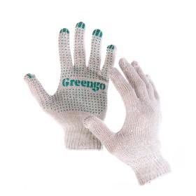 Перчатки, х/б, вязка 10 класс, 3 нити, размер 9, с ПВХ точками, белые Ош
