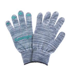 Перчатки, х/б, вязка 10 класс, 5 нитей, размер 9, с ПВХ точками, серые Ош