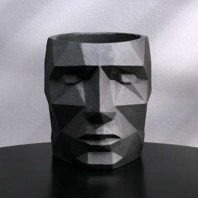 Кашпо полигональное из гипса «Голова», цвет чёрный, 11 × 13 см - Фото 1