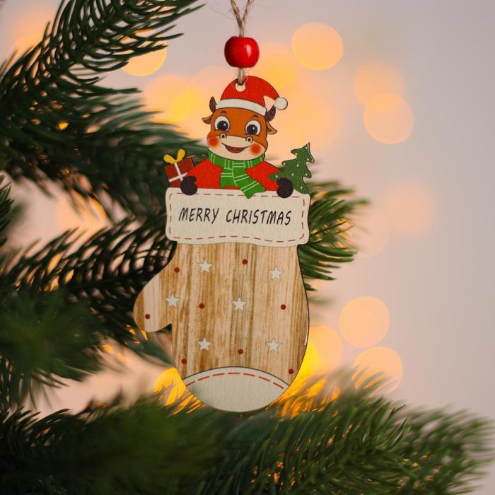 Новогодняя подвеска Коровка в варежке 10х5,5х 0,3 см