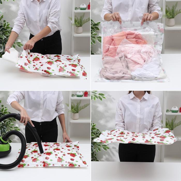 Вакуумный пакет для хранения вещей «Розы», 70×100 см
