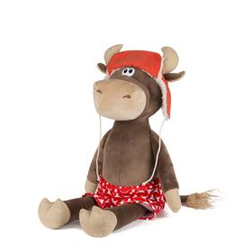 Мягкая игрушка «Бычок Федот в шапке-ушанке и красных трусах», 23 см