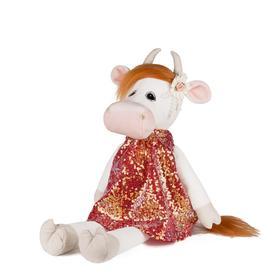 Мягкая игрушка «Коровка Глаша в коралловом платье», 23 см