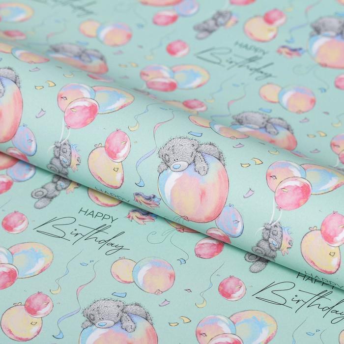 """Бумага упаковочная глянцевая """"Happy Birthday"""", 100 x 70 см"""