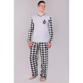 Костюм мужской (лонгслив, брюки) NY, цвет серый/клетка, размер 60 Ош