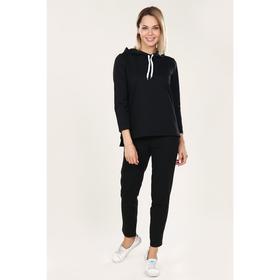 Костюм женский (худи, брюки) цвет чёрный, размер 56 Ош