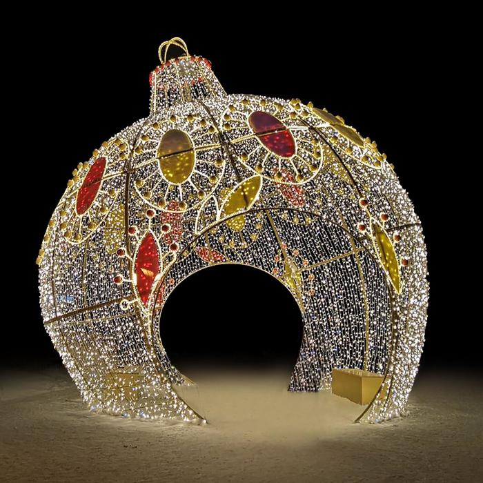 """Светодиодная арка """"Шар- световая скульптура"""", 450 х 450 х 450 см, 800 Вт"""