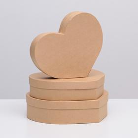 "Набор коробок в форме сердца 3 в 1 ""Крафт однотонный"", 29 х 24 х 7 - 25 х 20 х 5 см"
