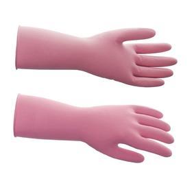 Перчатки латексные многоразовые, M, красные