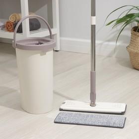 Набор для уборки: ведро с отсеками для полоскания и отжима 9,3 л, швабра плоская, запасная насадка из микрофибры, цвет МИКС