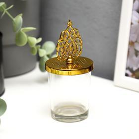 "Подсвечник стекло на 1 свечу ""Королевский узор"" золото 11х5,5х5,5 см"