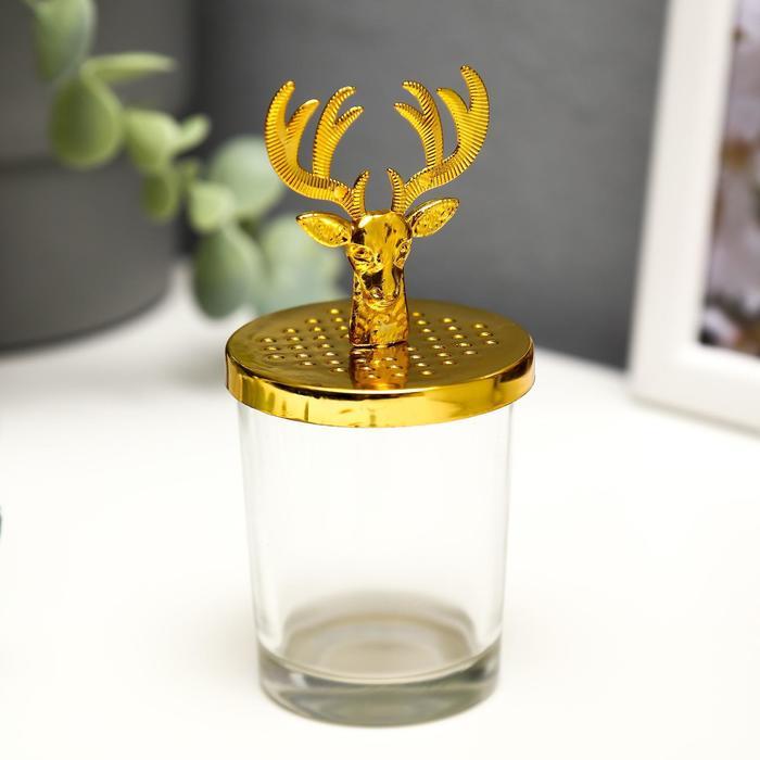 Подсвечник стекло на 1 свечу Олень золото 11х5,5х5,5 см