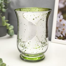 """Подсвечник стекло на 1 свечу """"Зелёные точки на серебре"""" 14,5х10,8х10,8 см"""