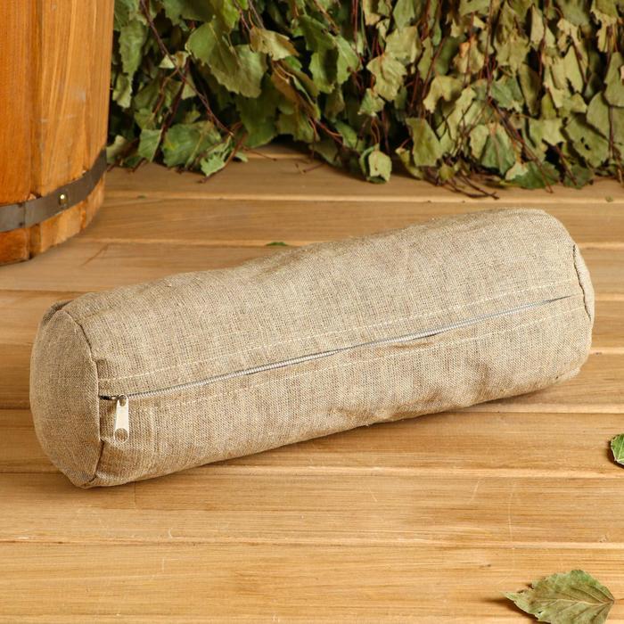 Валик с очищеной соломой, натуральный лен 30х10 см
