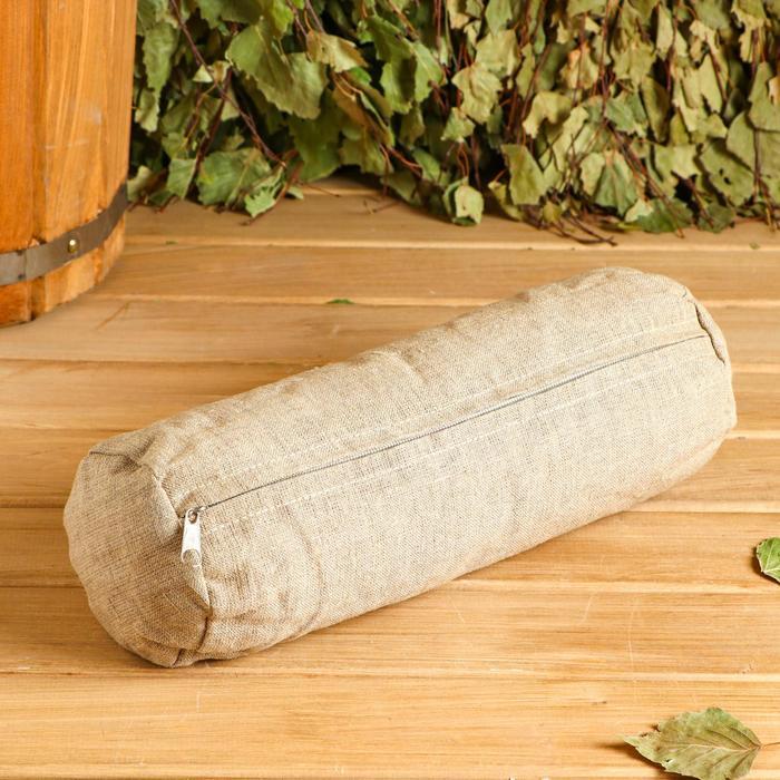 Валик из стружки кедра, натуральный лен 30х10 см
