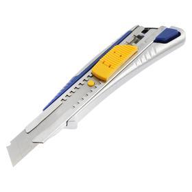 Нож усиленный KUBIS 04-03-1018, выдвижное лезвие, автоматический замок, металлический, 18 мм