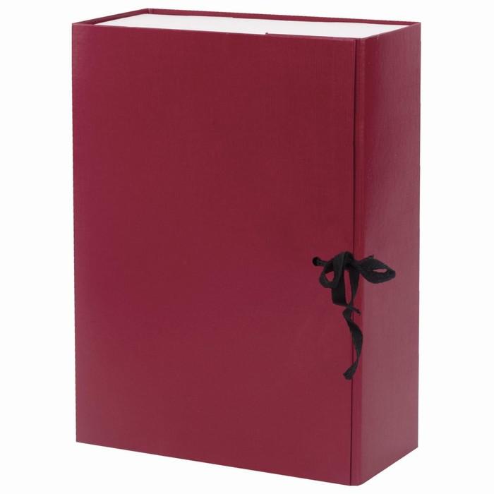 Короб архивный с завязками Calligrata разборный, бумвинил, 100 мм, бордовый, клапан микрогофрокартон, 800 листов