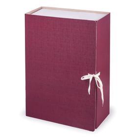 Короб архивный с завязками Calligrata разборный, бумвинил, 120 мм, бордовый, клапан микрогофрокартон, 1000 листов