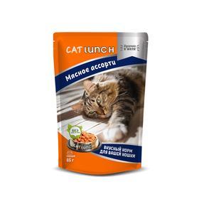 Влажный корм Cat Lunch для кошек, мясное ассорти в желе, 85 г Ош