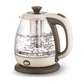 Чайник электрический BRAYER BR1046, стекло, 1 л, 1100 Вт, заварник, бежевый