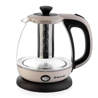 Чайник электрический BRAYER BR1046, стекло, 1 л, 1100 Вт, заварник, бежевый - Фото 1