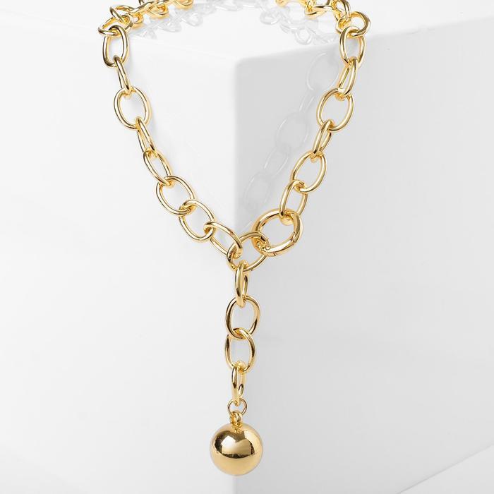 Кулон Цепь шар на нити, цвет золото, L48 см