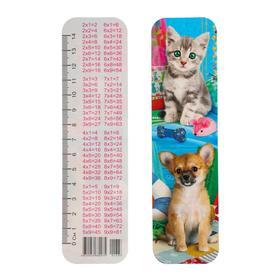 Закладка картонная 'Щенок с котенком-2' глиттер Ош