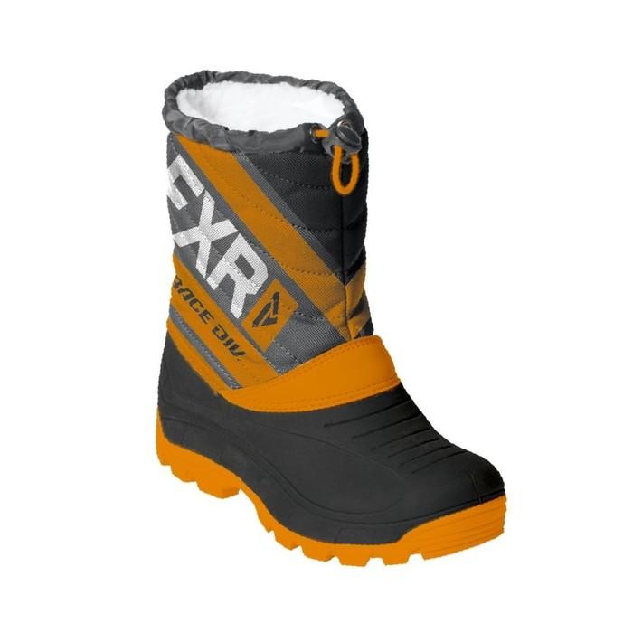 Ботинки FXR Octane с утеплителем, размер 32, чёрный, оранжевый, серый