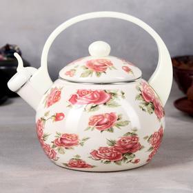 Чайник эмалированный со свистком «Чудесница. Розы», 2,5 л