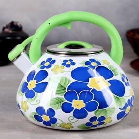 Чайник эмалированный со свистком «Чудесница. Фиалки», 3,5 л