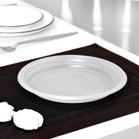 Тарелка одноразовая столовая, d=20,5 см, 100 шт/уп, цвет белый