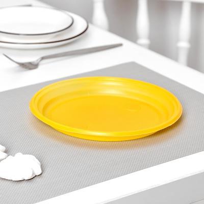 Тарелка одноразовая столовая, d=20,5 см, 100 шт/уп, цвет жёлтый