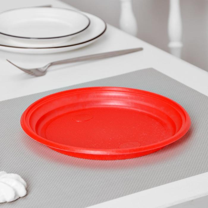 Тарелка столовая, d=20,5 см, 100 шт/уп, цвет красный