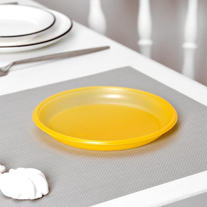 Тарелка десертная, d=16,5 см, 100 шт/уп, цвет жёлтый